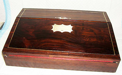 ANTIQUE VICTORIAN LAP DESK WRITING SLOPE working lock and key inset handle