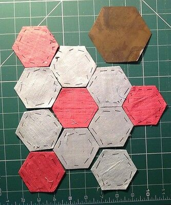 """Vintage Brass 2"""" handmade Hexagon Patchwork Template + some silk patches 1960's"""