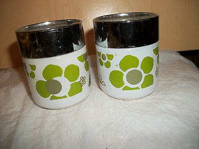 Vintage White Salt & Pepper Shakers with Green Flower Design