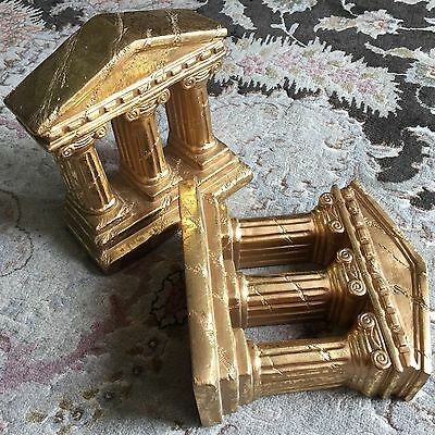 """Pair of Heavy Gold Painted Hand Plaster """"Greek/Roman Pillar"""" Bookends/Ornaments"""
