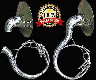 SOUSAPHONE Bb FLAT 3 VALVES NICKEL PLATED WITH BAG MOUTH PIECE FAST SHIP