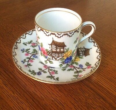 "Vintage Aynsley Bone China Coffee Cup & Saucer In The ""Pagoda"" Pattern."
