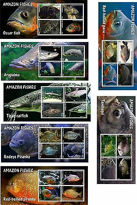 2013 Amazon fishes piranha 7 SOUVENIR SHEETS MNH IMPERFORATED