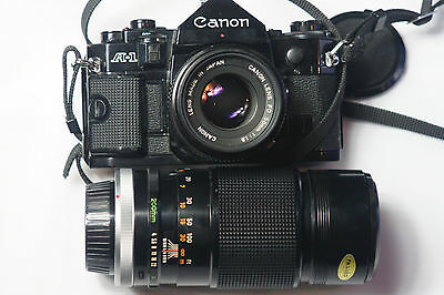 Canon A-1 35mm SLR Film Camera with 50 mm lens and 200mm f4 Lens