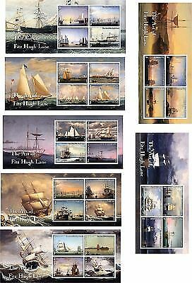 Ships Paintings Boats Sails 7 Souvenir Sheets Mnh Imperforated