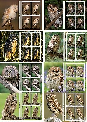 Eagle Owls Owl Birds 8 Souvenir/s  Mnh Imperforated