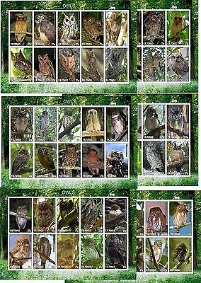 Owls Owl Birds 6 Souvenir Sheets  Mnh Imperforated