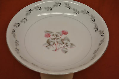 """Coupe Soup Bowl 7-3/4"""" Silver Clover Design From Japan"""