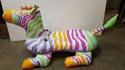 "Vintage 1989 Intex The Wet Set 56"" Inflatable Zebra Ride on Pool Toy"