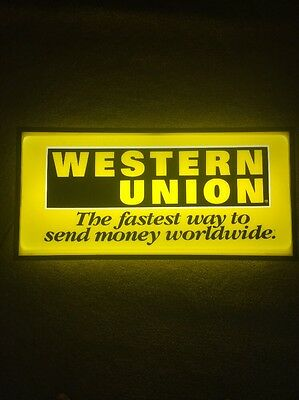 WESTERN UNION DOUBLE SIDED SIGN - 24x12x5 Vintage Good Condition