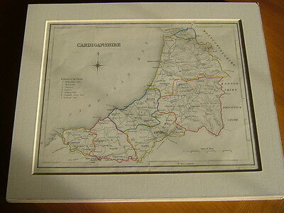Antique Hand Coloured Map Of Cardiganshire From Lewis' Topographical Dictionary