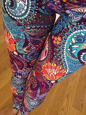 SOFT Teal Purple brushed Paisley Floral Leggings S M L ONE size GREAT