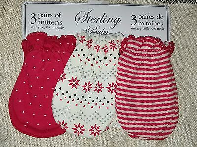 NEW! Sterling Baby 3 pair Baby/Infant anti-scratch mitts,0-6 m ,Red/Ivory/Silver