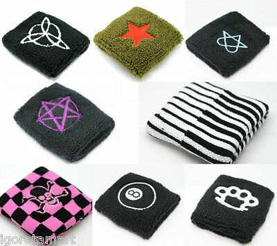 Pair Patterned 8 Trquetra Workout Wrist Sweat Bands Terry Cloth Sweatbands