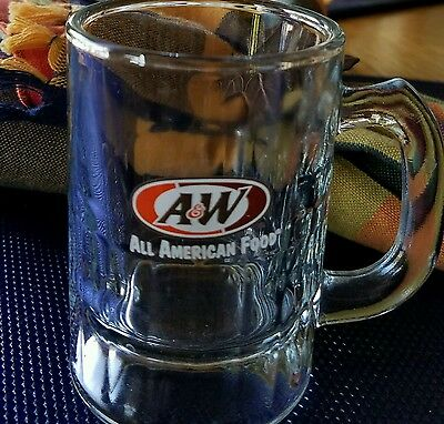 """A & W Root Beer  Childs Mini Mug / Stein - Oval Logo """"all American Food"""" 3-1/4"""""""