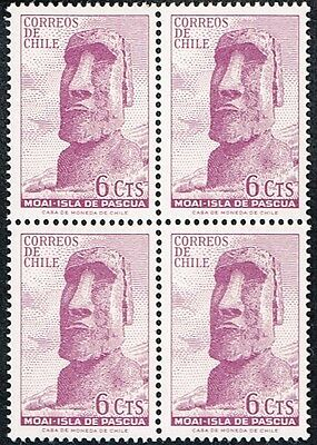 Chile 1965 Stamp # 679 Mnh Block Of Four Moai Easter Islands
