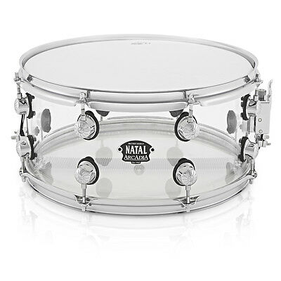 """Natal Arcadia 14"""" x 6.5"""" Clear, Transparent Acrylic Snare Drum"""