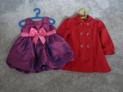 Bundle of Baby Girl Clothes: Mini Club Red Coat & H&M Dress 18-24 months