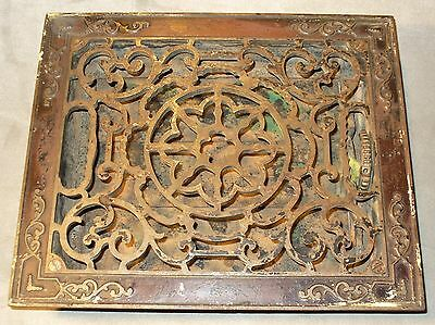 Antique Victorian 10 x 12 Cast Iron 3 Louver Floor Heat Register Grate-Wall Vent