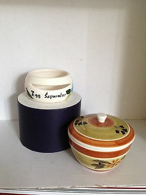 Toni Raymond Pottery Lidded Dish and Egg Separator