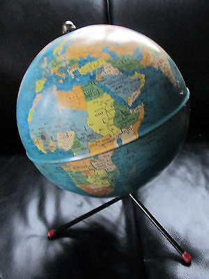 Vintage Tin Globe On Metal Tri-Leg Stand.