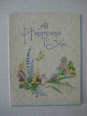 Vintage Birthday Greetings Card, All Happiness to You  - Unused