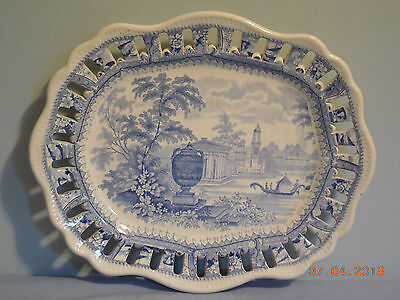 "Transferware Light Blue Reticulated 10 5/8"" Platter Or Under Plate"