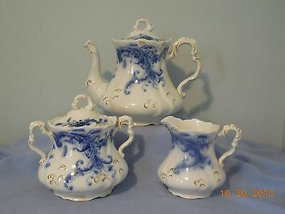 Wentworth Flow Blue Three Piece Tea Set By J & G Meakin - Beautiful Condition