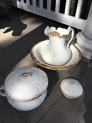 Dresdon Porcelain Wash Bowl and Pitcher Chamber Set