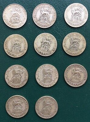 11 Silver George V Sixpence's.