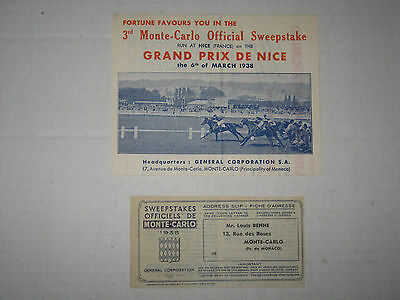 3rd Monte-Carlo Official Sweepstake prospectus  + Agent's Address Slip, 1938!!
