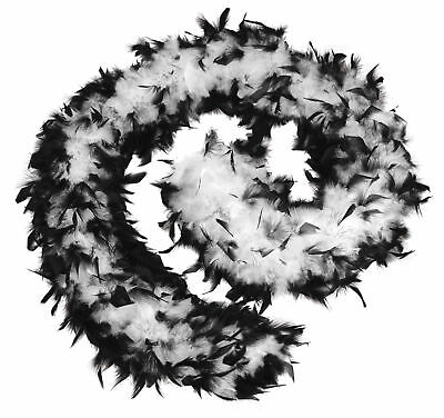 FANCY DRESS Feather Moll Boa 80g. Black/White