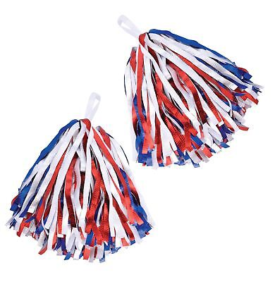 FANCY DRESS Cheerleader Pom Poms. Red/White/Blue