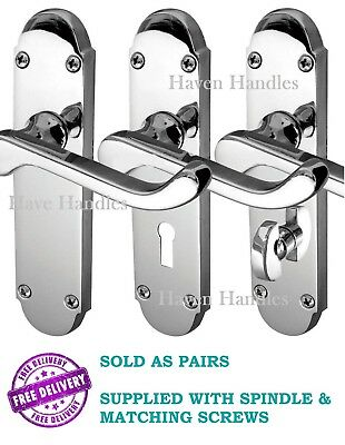 CHROME 'Epsom' Style Handles | Bath/Lock/Latch CHROME Door Handle Options