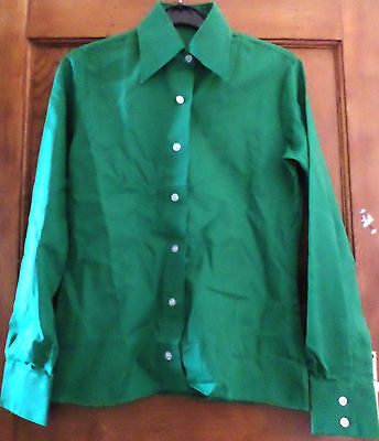True Vintage 60s 70s Green Shirt Blouse Mod Northern Soul Scooter