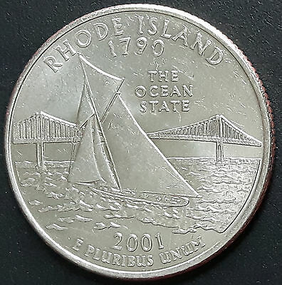 UNITED STATES 2001 QUARTER 25 cents RHODE ISLAND COIN.