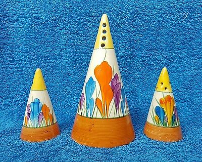 Clarice Cliff Conical Sugar Sifter And Salt And Pepper - Wow