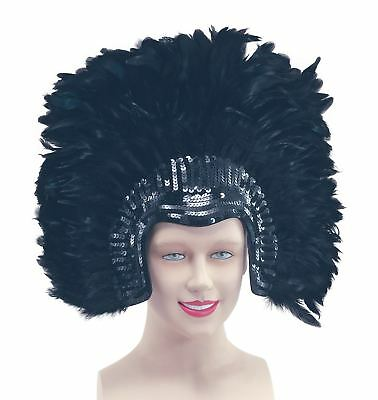 FANCY DRESS Feather Headdress Black Deluxe