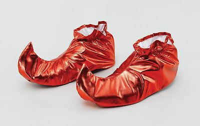 FANCY DRESS Jester Shoe Covers. Red Metallic