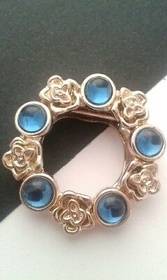 Vintage Jewellery-Silver Flowers & Blue Glass Pebbles Wreath Brooch/scarf Clip