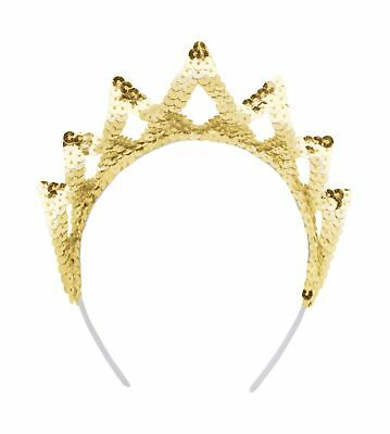 FANCY DRESS Tiara Sequin Gold 7 Point