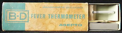 Vintage B-D Becton Dickenson ASEPTO Fever Thermometer Complete Set in Box