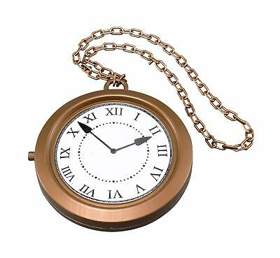 FANCY DRESS Jumbo Clock Medallion Necklace White Rabbit Alice