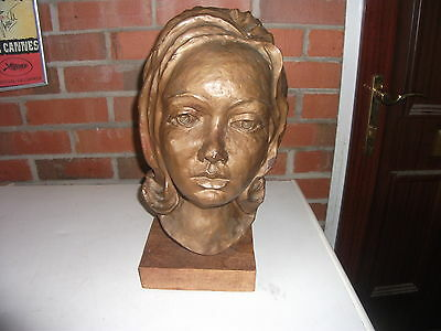 Decorative Artist Made Sculpture Bust of YOUNG WOMANS Head BRONZED Plaster