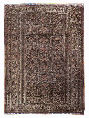 Hand Knotted Semi Antique Persian Balouch Wool Carpet Rug 5x3 (367A)