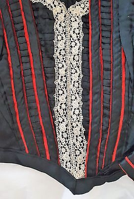 Antique Victorian Black & Red Satin Dess Bodice with Crochet Lace Vintage Top
