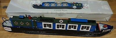 """Boxed 2006 Wooden MODEL CANAL BOAT 15"""" Narrow Boat BARGE Detailed Well Made"""
