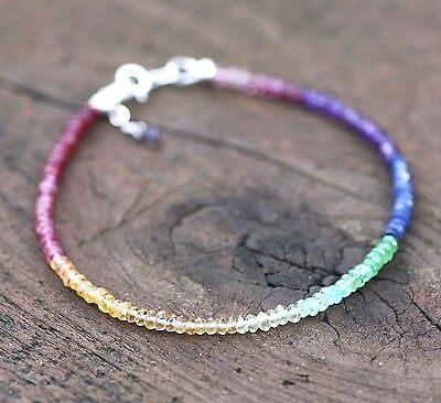 Natural Sapphire Tourmaline Rainbow Gem Bracelet Sterling Silver 5th 20th Annive
