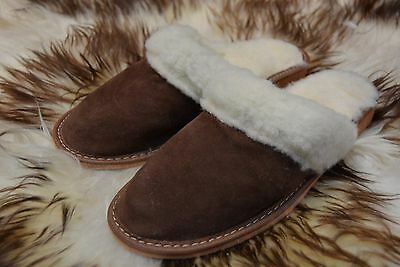 Wome Slipper Shoes Mule Suede Leather Wool Hand Made Size 3