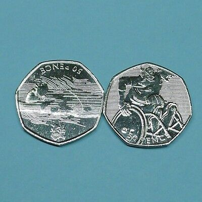 2012 Olympic 50p x2 Aquatics and Wheelchair Rugby VGC.